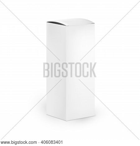 Tall Cosmetic Packaging Box. Vertical Cosmetic Cartoon Packaging. Realistic Cosmetic Mockup For Your