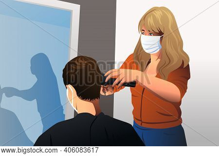 A Vector Illustration Of Hairdresser Cutting Hair Wearing Mask During Pandemic