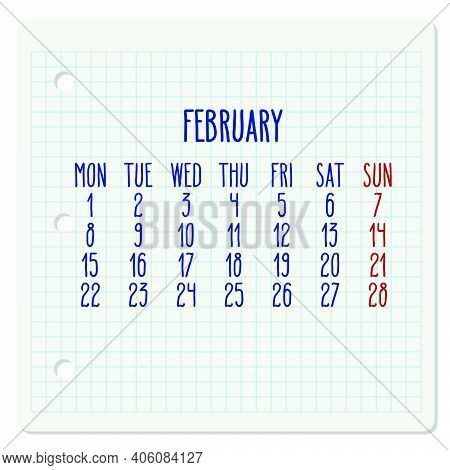 February Year 2021 Vector Monthly Calendar On A Chequered Notebook Page. Week Starting From Monday.