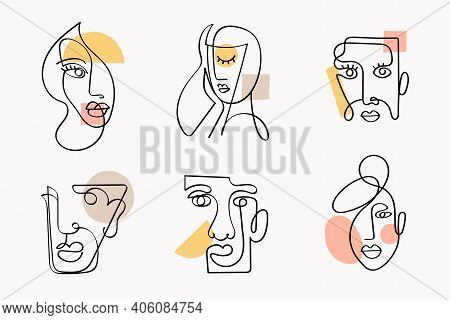 Collection Of Abstract Faces In Line Art Style. Surreal Faces Of Men And Women Isolated On Whte. Lin