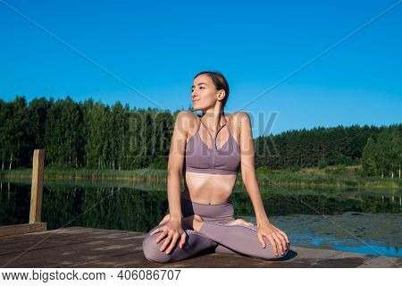 Calm Young Woman Taking Deep Breath Of Fresh Air Relaxing Meditating Enjoying Peace, Serene Tranquil