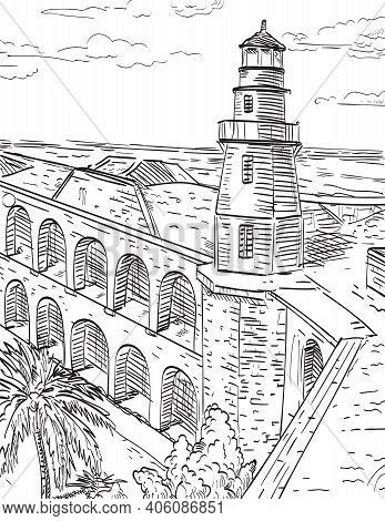 Retro Woodcut Style Illustration Of The Dry Tortugas National Park In Florida Keys, Site Of Fort Jef