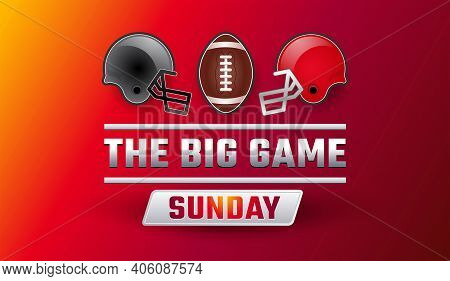 Super Bowl Big Game Sunday Banner - Championship Final Red Background, Gray And Red Helmets, Footbal