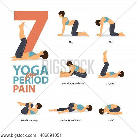 Infographic Of 7 Yoga Poses For Workout At Home In Concept Of Yoga For Period Pain Flat Design. Woma