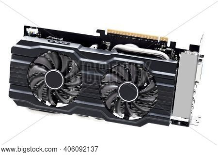 Video Card With Heatsink And Coolers For Cooling Computer Device Component Design In Black With Pci
