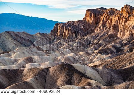 Rock Formations At Zabriskie Point, Death Valley National Park, Nevada, Usa.