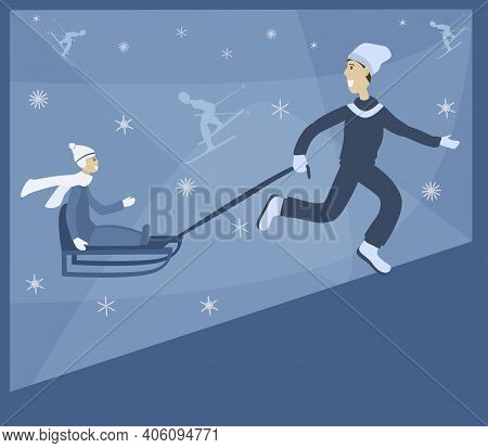 Family Activity In Winter Time. Father And Son Having Fun On A Sleigh Ride. Winter Holidays Concept.