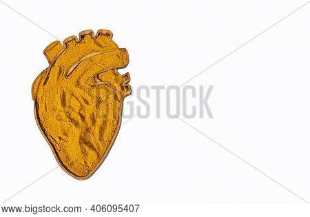 Curcuma Longa - Organic Turmeric Powder In The Heart Shaped Bowl