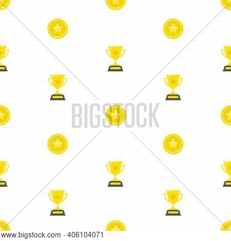 Winners Cups And Gold Medals Seamless Background. Golden Awards, Prize Pattern. Champion Cup And Tro
