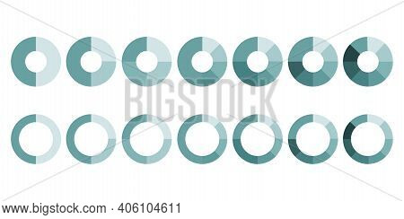 Pie Slices Circles In Flat Style. Vector Set. Stock Image. Eps 10.