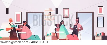 Hairdressers Making Hair Style To Mix Race Clients Modern Beauty Salon Interior Horizontal Portrait
