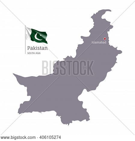 Silhouette Of Pakistan Country Map. Gray Editable Map Of Pakistan With Waving National Flag And Isla