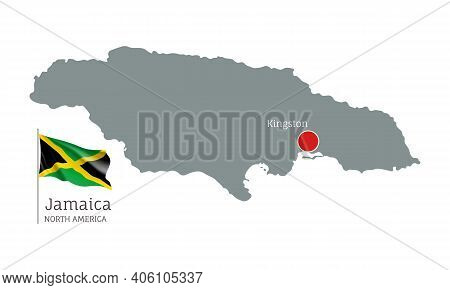 Silhouette Of Jamaica Country Map. Gray Editable Map With Waving National Flag And Kingston City Cap