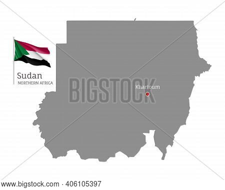 Silhouette Of Sudan Country Map. Gray Editable Map With Waving National Flag And Khartoum City Capit