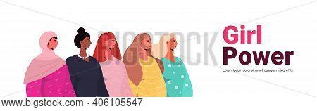 Mix Race Girls Standing Together Female Empowerment Movement Women Power Concept Portrait Horizontal