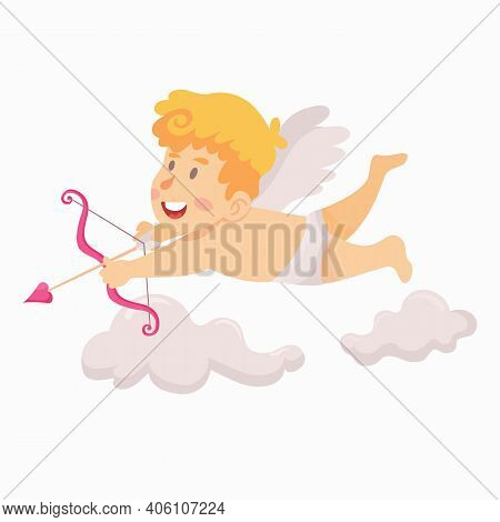 Cute Cupid Flying And Aiming With Arrows And Bow Vector Illustration
