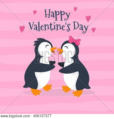 Valentine's Day Card Vector Illustration With Cute Penguin Couple