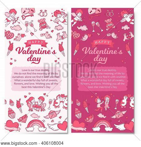 Valentine's Day Vertical Banners Illustration. Background Template For Valentine's Day Celebration
