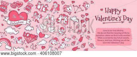 Valentine's Day Vertical Banners Illustration. Background Template For Valentine's Day Celebration V