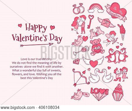 Valentine's Day Greeting Card. Background Template For Valentine's Day Celebration