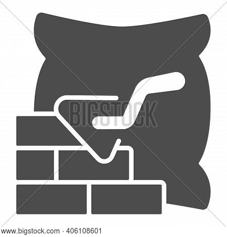 Brickwork With Trowel And Bag Of Cement Solid Icon, Labour Day Concept, Cement Bag And Brick Wall Si