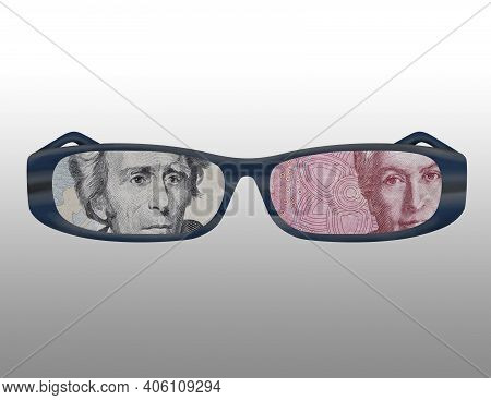 Illustration Of The Outline Of Some Glasses With The Image Of American And Chilean Money On Them