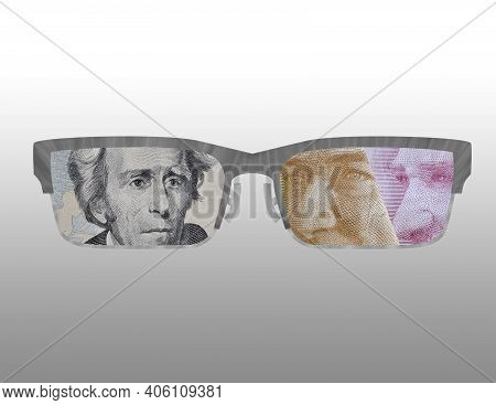Illustration Of The Outline Of Some Glasses With The Image Of American And Turkish Money On Them