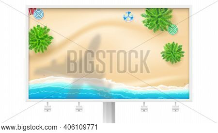 Shadow Of Plane Under Tropical Beach. Billboard With Palms And Seashore. Top-down View. Flat-lay Cre