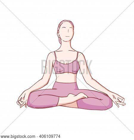 Yoga Meditation In Siddhasana. Om Meditation For Body Relax And Spirit Harmony. Colored Vector Illus