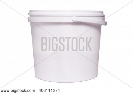 White Plastic Bucket For Food Products. Isolated On White Background.
