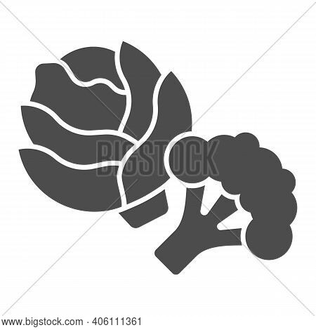 Cabbage And Broccoli Solid Icon, Diet Concept, Vegetable Sign On White Background, Fresh Cabbage And