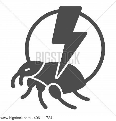 Flea And Lightning Solid Icon, Pest Control Concept, Flea Warning Sign On White Background, Catch Be