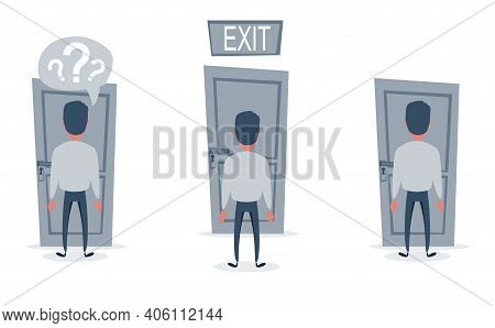 Businessman Standing In Front Of The Door. Choosing The Way For Moving Forward. Set. Cartoon Vector