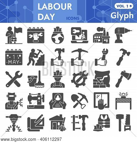 Labour Day Solid Icon Set, Labor Day Symbols Collection Or Sketches. Industry And Workforce Glyph St