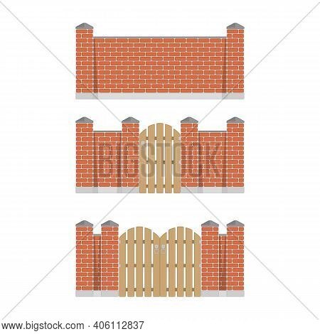 Stone Bricks Fence Set With Door And Gate Isolated White Background. Castle Tower Wall Stone Fence I