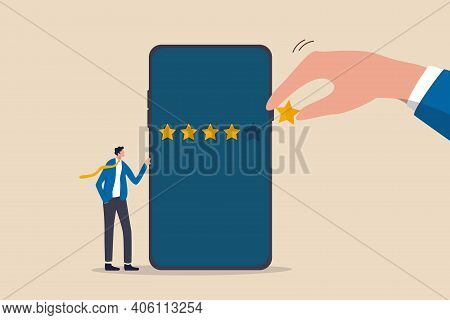 Customer Experience Or Customer Review By Giving Rating 5 Stars, Feedback From People Who Use Servic