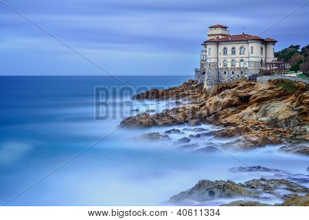 Boccale castle landmark on cliff rock and sea in winter. Tuscany Italy Europe poster