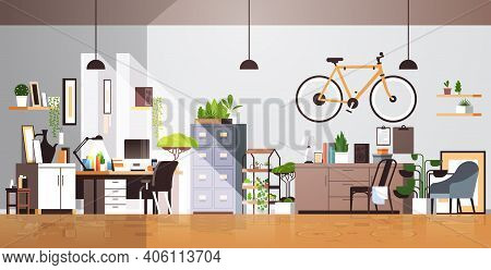 Modern Workplace Cabinet Empty Living Room Interior No People Apartment With Furniture Horizontal Ve