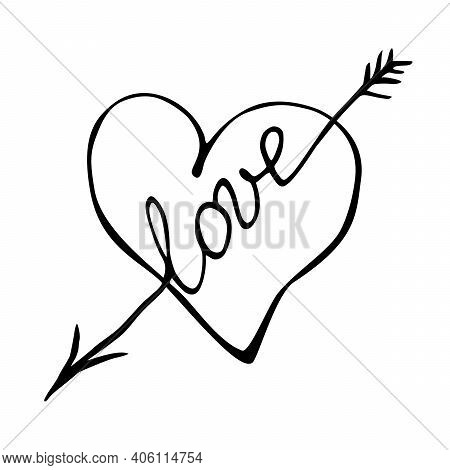 Heart With An Arrow - Hand Drawn Vector Illustration. Clipart, Sign, Element Of Design, Caption For