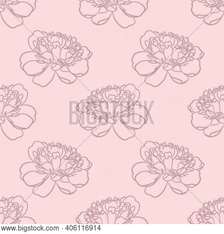 Floral Repeat Pattern, Peony Pastel Pink Vector Background Repeat. Flower Repeat Simple Flower.