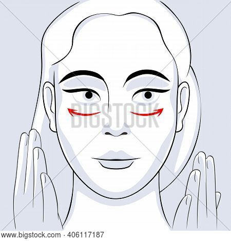 Woman Face Massage Instruction With Arrows. Relaxing Techniques Massage. Apply Cream To The Face Wit