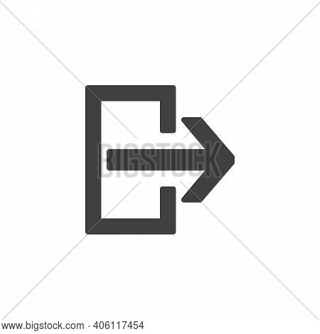 Exit Doorway Vector Icon. Filled Flat Sign For Mobile Concept And Web Design. Exit Way Glyph Icon. S