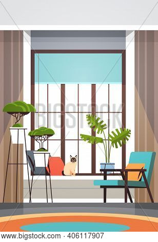 Modern Empty Living Room Interior No People Apartment With Furniture Horizontal Vector Illustration