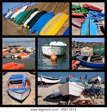 Photos mosaic of small boats