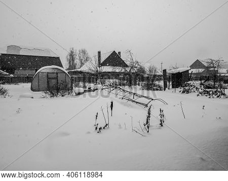 View During A Heavy Snowfall In The Countryside, Southern Urals