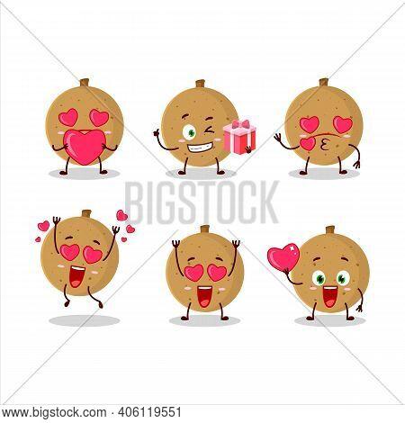 Longan Cartoon Character With Love Cute Emoticon