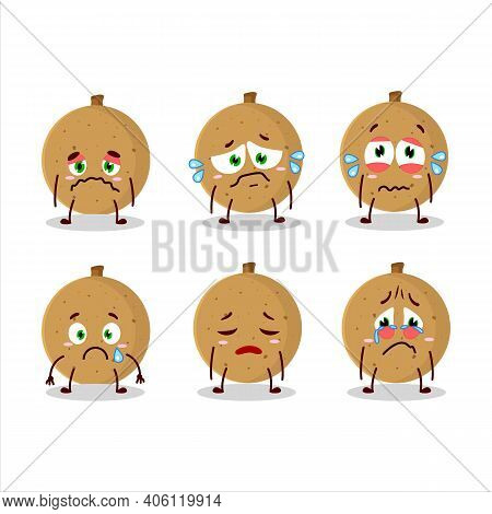 Longan Cartoon In Character With Sad Expression