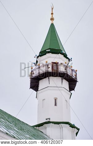 The Minaret Of The Mosque With A Modern Sound Reinforcement System. Traditions Of Islamic Culture