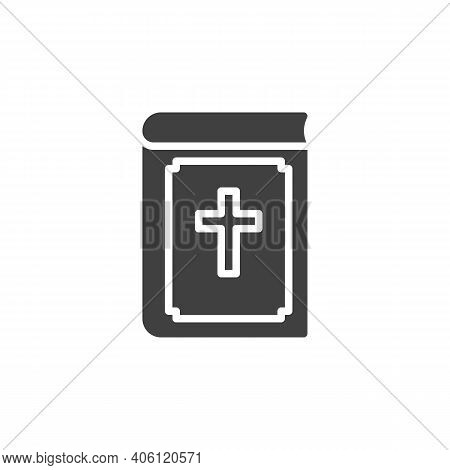 Bible Book With Holy Cross Vector Icon. Filled Flat Sign For Mobile Concept And Web Design. Holy Bib