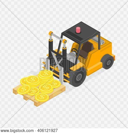 Illustration Of Isometric Loader With Pile Of Coins. Business Infographic Concept. Big Stacked Pile